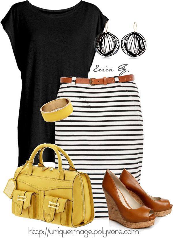 """Striped Skirt"" by uniqueimage ❤ liked on Polyvore"