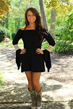 Marilyn Tunic Dress In Black Country Dresses Country Outfits Country Girls Outfits