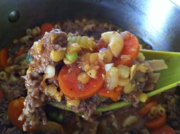 Bestest Hamburger Soup  www.losewithskinnyfiber.com Ingredients 2 lbs ground beef 1/2 teaspoon salt 1/4 teaspoon pepper 1/4 teaspoon oregano 1/4 teaspoon basil 1/8 teaspoon seasoning salt 1 (2 ounce) packages onion soup mix ( for 3 or 4 servings) 6 cups boiling water 1 (8 ounce) cans tomato sauce 1 tablespoon soy sauce 1 cup celery, sliced 1/4 cup celery leaves 1 cup sliced carrot 1/3 cup dried split peas 1 cup elbow macaroni grated parmesan cheese Directions In a large saucepan, brown meat…