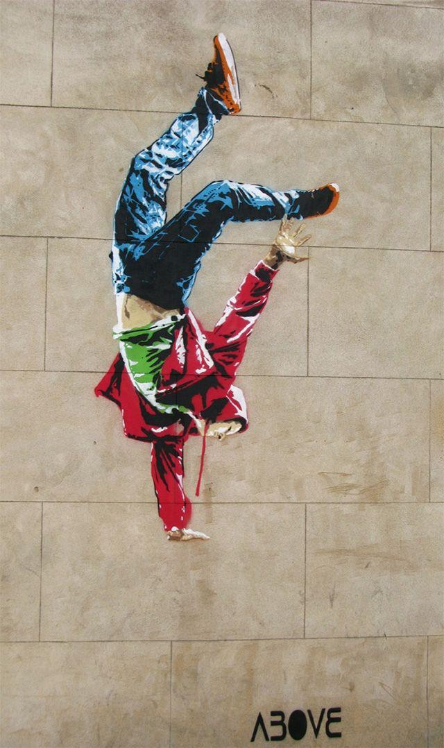 Perfectly Placed Stencil By Above Is Best Viewed At Night Murals Street Art Street Art Street Art Graffiti