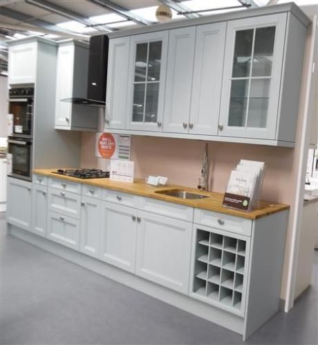 Ex display hygena kitchen valetti blue cabinets individual for Home base kitchen units