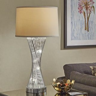 aquila round base caged table lamp with led night light by inspire q bold chrome silver fabric