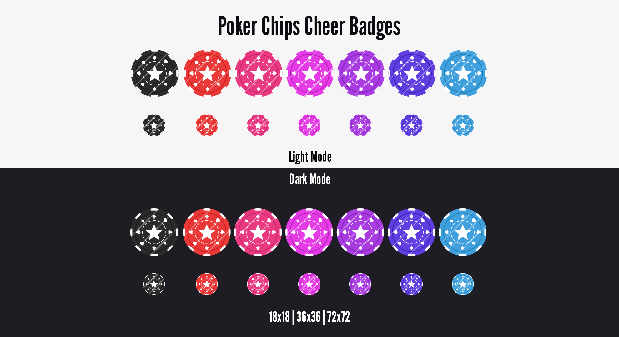 Twitch Cheer Badges Poker Chips