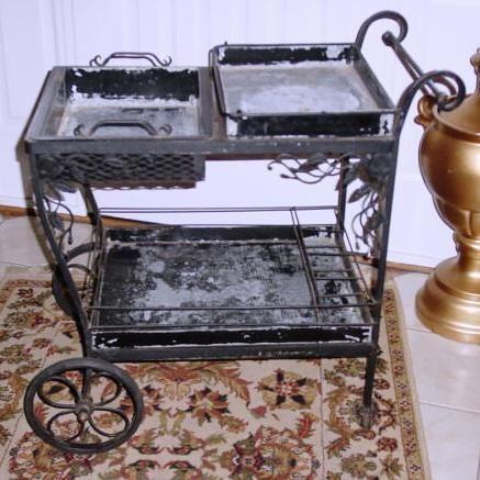 vintage woodard tea cart wrought iron pick up only in old bridge township nj