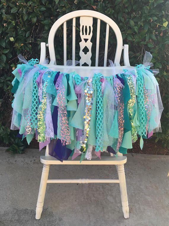 Mermaid High Chair Banner, Mermaid Highchair Banner, Mermaid Tutu, Mermaid First Birthday, Mermaid decorations, Mermaid Decor