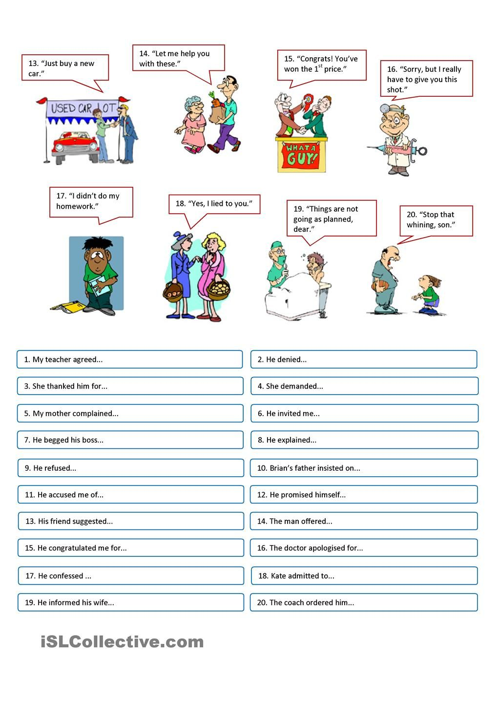 REPORTED SPEECH - reporting verbs | ดี | Pinterest | Worksheets ...