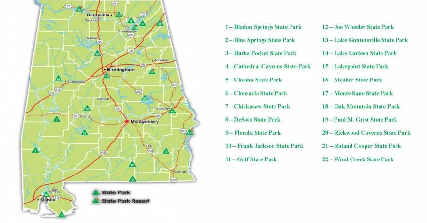Alabama Map Of State Parks And What They Offer Includes Link To Interactive Map Of Wilderness Tr State Parks Guntersville State Park Blue Springs State Park