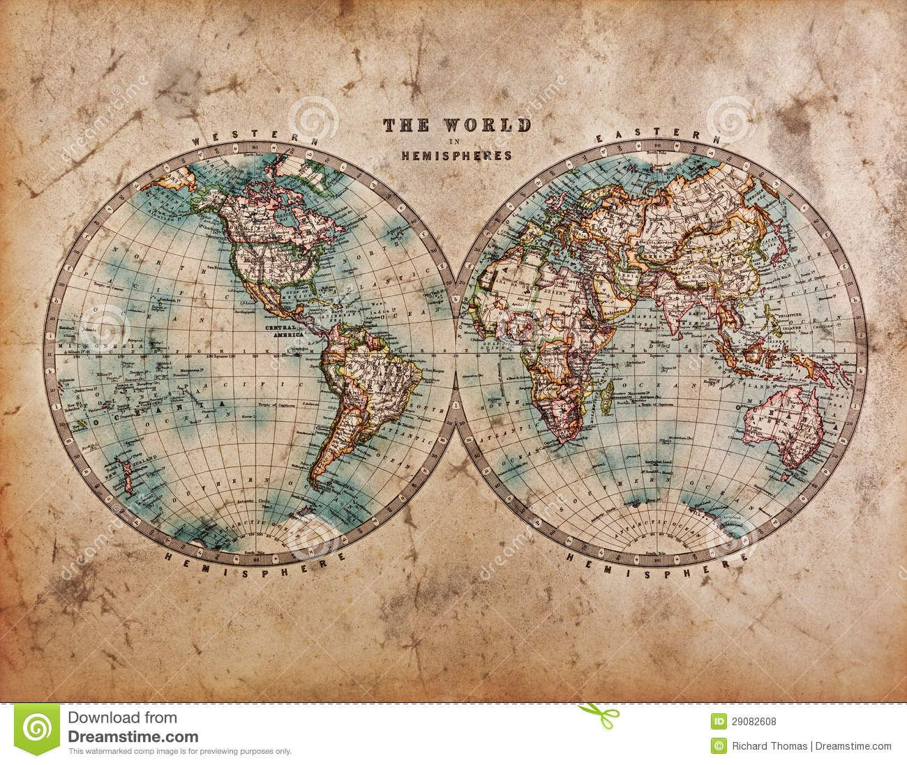 Old world map in hemispheres royalty free stock photos image old world map in hemispheres royalty free stock photos image 29082608 gumiabroncs Images