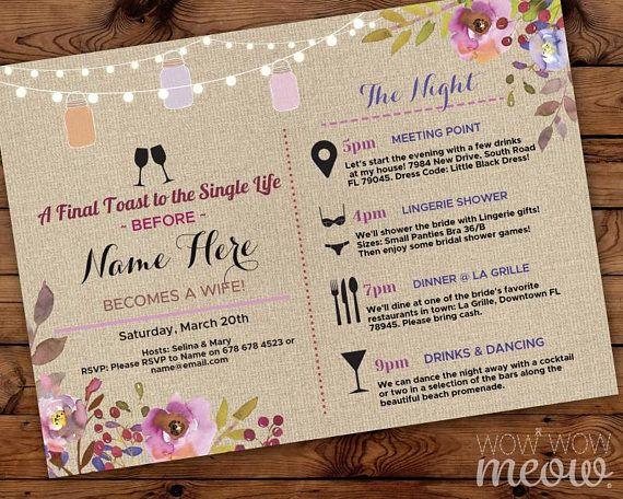Bridal shower itinerary invite weekend girls floral jars itinerary bridal shower itinerary invite weekend girls floral jars filmwisefo