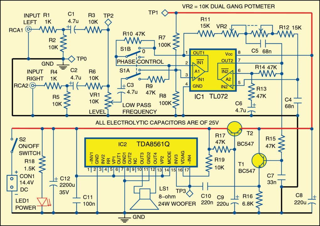 Subwoofer For Cars Full Electronics Do It Yourself Project Circuit Diagram Electronics Circuit Subwoofer