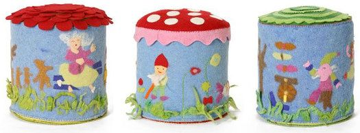 Fairytale ottoman- These felt footstools from Anthropologie are adorned with gnomes, flowers and mushrooms depicting imaginative fairy tale themes.