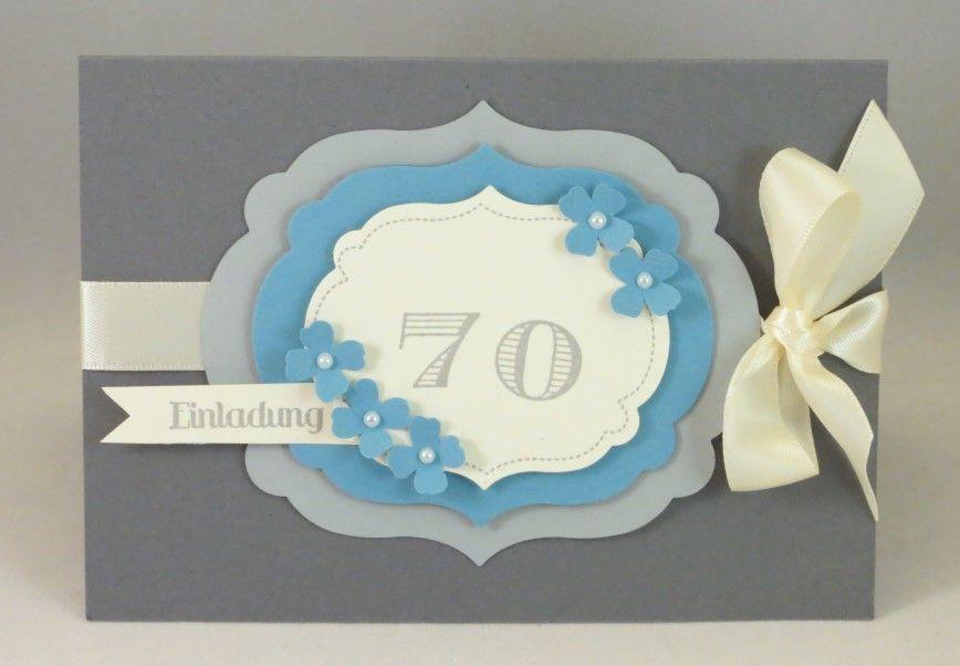 zum basteln Einladung zum 70sten Geburtstag Stampin