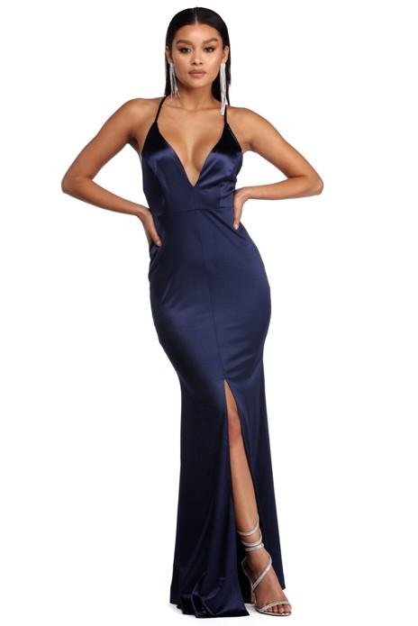 2e52ff830c5a7 Raelynn Satin Cross Strap Dress | Products | Dresses, Navy satin ...