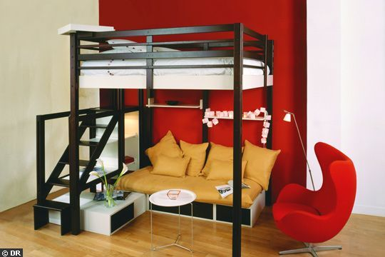 am nagement sous lit mezzanine recherche google chambre enfants pinterest lieux et mezzanine. Black Bedroom Furniture Sets. Home Design Ideas