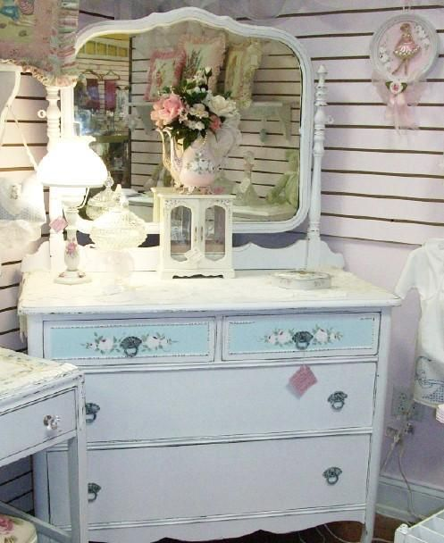 Vintage Cottage Shabby Chic Dresser w Mirror White & Sea Blue So