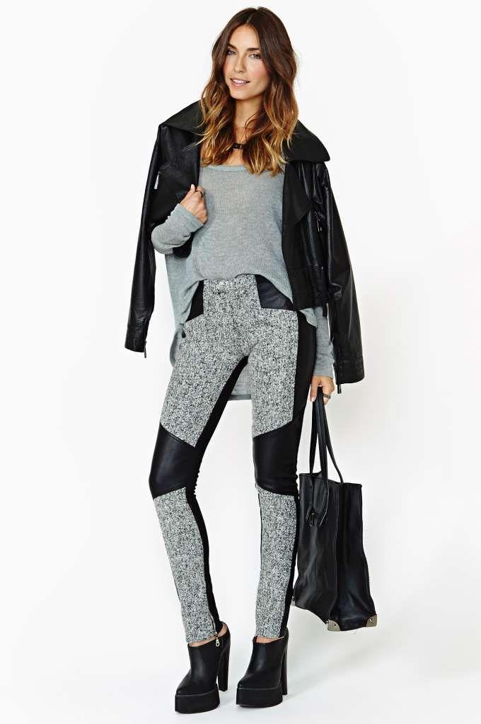 nasty gal. shakuhaci. tweed faux leather pant. #fashion