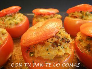 Con tu pan te lo comas: TOMATES RELLENOS DE CARNE Y ARROZ