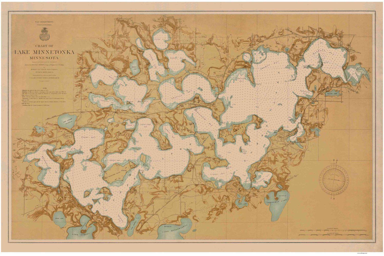 Lake Minnetonka Map Nautical Chart Old Map Minnesota - Us coast and geodetic survey maps