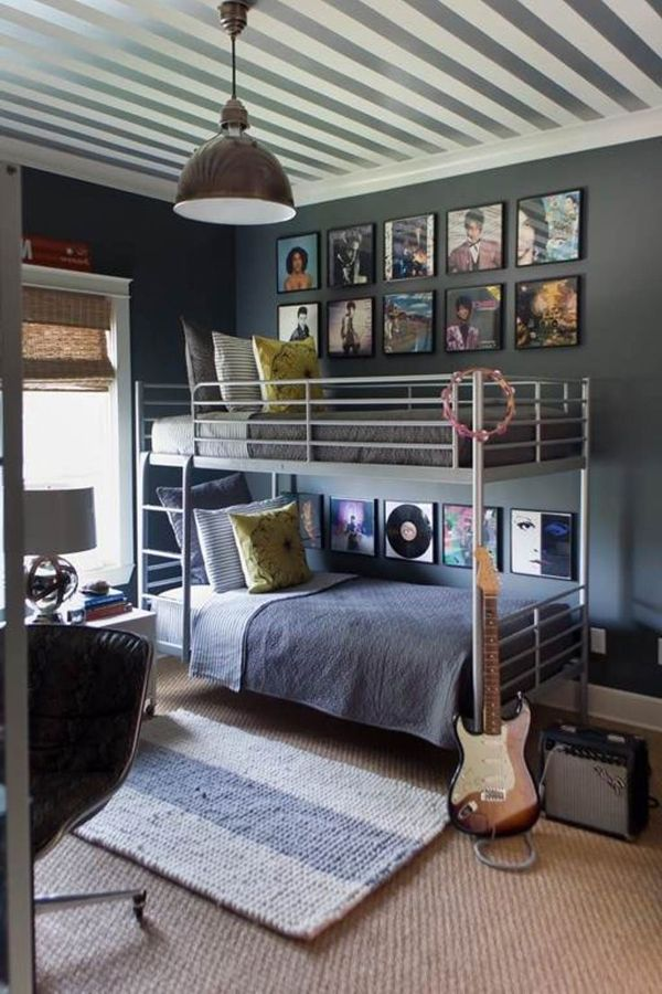 18 Cool And Trendy Teen Boys Bedroom Designs : Stylish Grey Teen Boys  Bedroom Design Inspiration with Iron Frame Bunk Bed and Grey White Stripe  Ceiling also ...