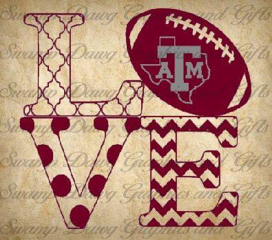 Texas am love cut file silhouette cricut svg decal football aggie quatrefoil chevron vinyl