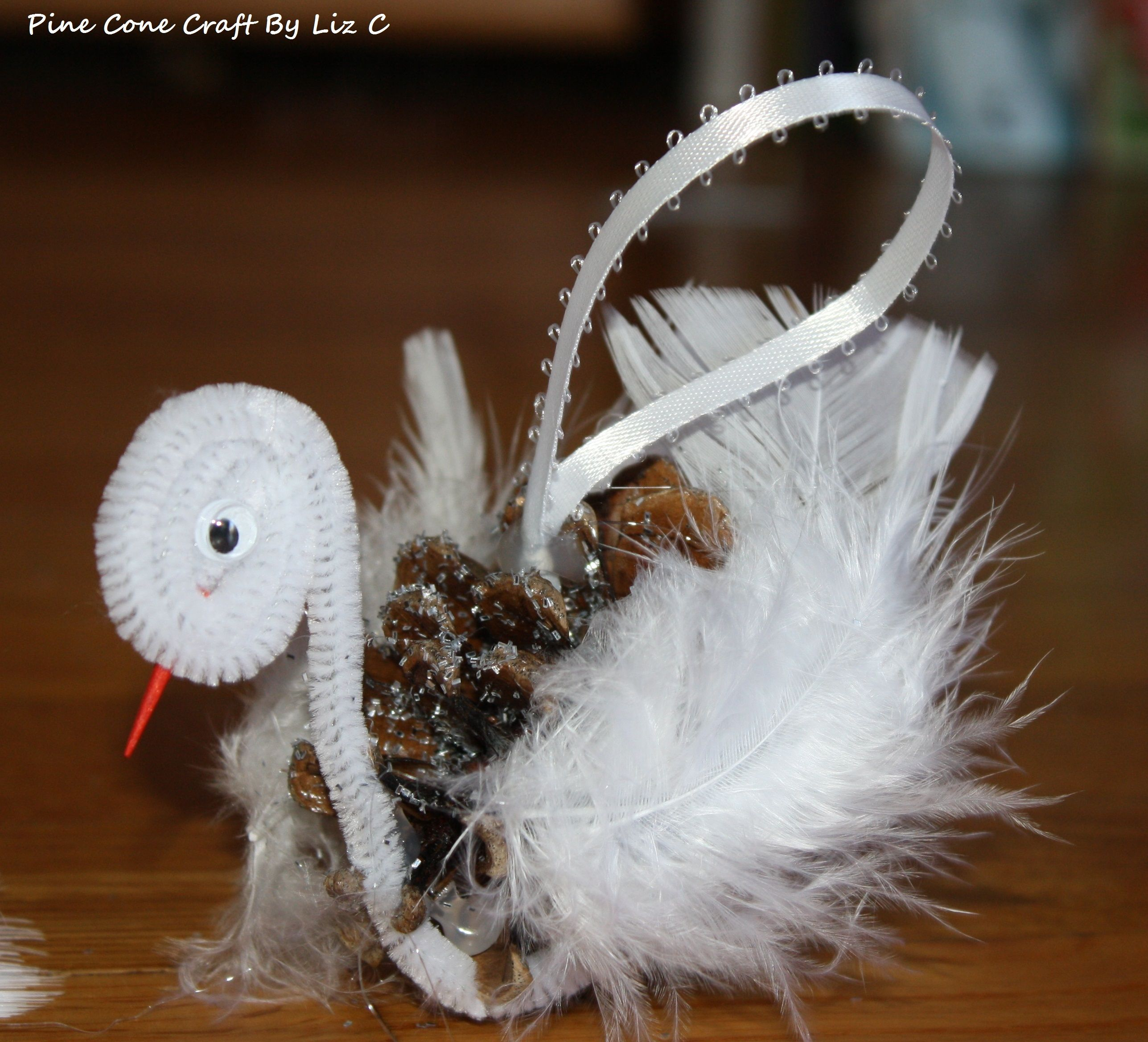 Swan Pine Cone Ornament Glitter Spray Glue Pipe Cleaners Bag of