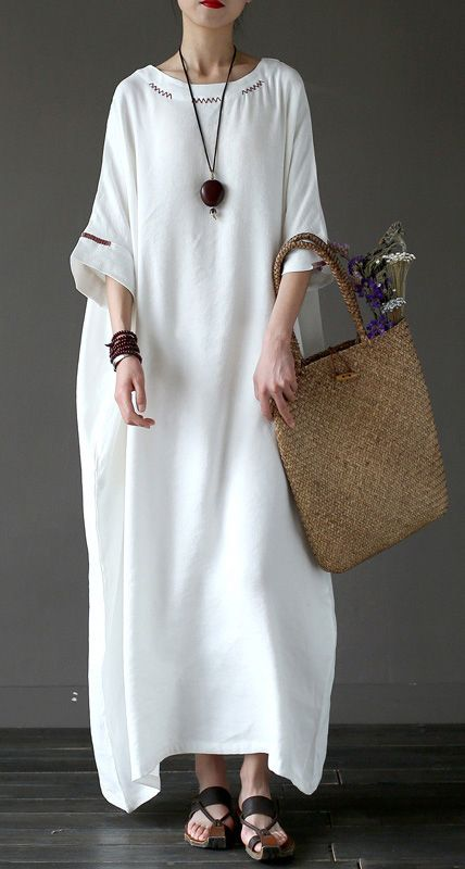 Women linen Robes Vintage o neck Inspiration white embroidery Batwing Sleeve Dress #whiteembroidery