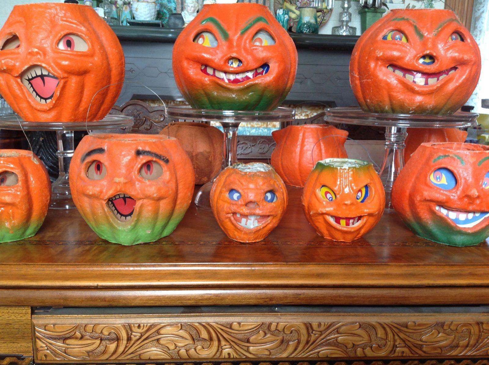 15 Vintage Halloween Jack O Lanterns Paper Mache Pulp Decorations 1940 S Inserts Ebay Halloween Jack O Lanterns Vintage Halloween Halloween Jack