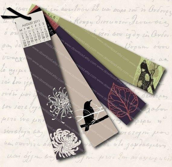 Printable Bookmark Calendar. | Put a bird on it. | Pinterest ...