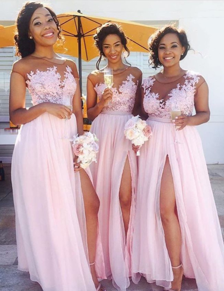 Lace Appliqued Sexy Bridesmaid Dresses,Pink Bridesmaid Dresses,Long ...