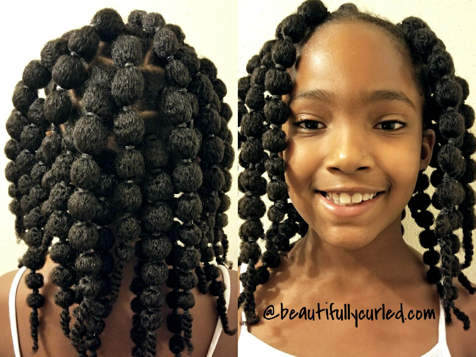 Cute and easy hair puff balls hairstyle for little girls click to
