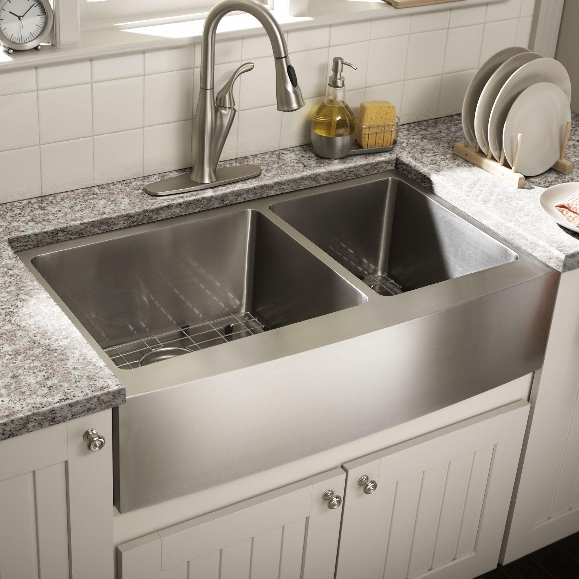 Schon 36 Double Bowl Farmhouse Kitchen Sink Reviews Wayfair