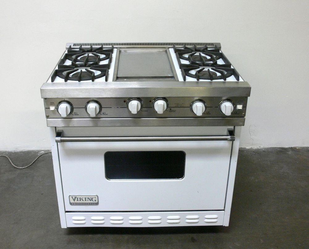 Viking White 36 Natural Gas Pro Range Vgic365 4gwh W 4 Open
