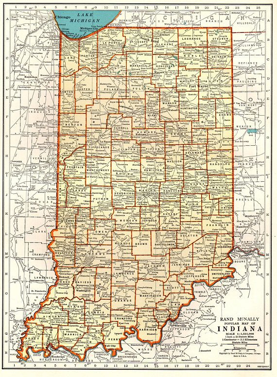 1940 Vintage INDIANA Map of Indiana State Map Print Gallery | United ...