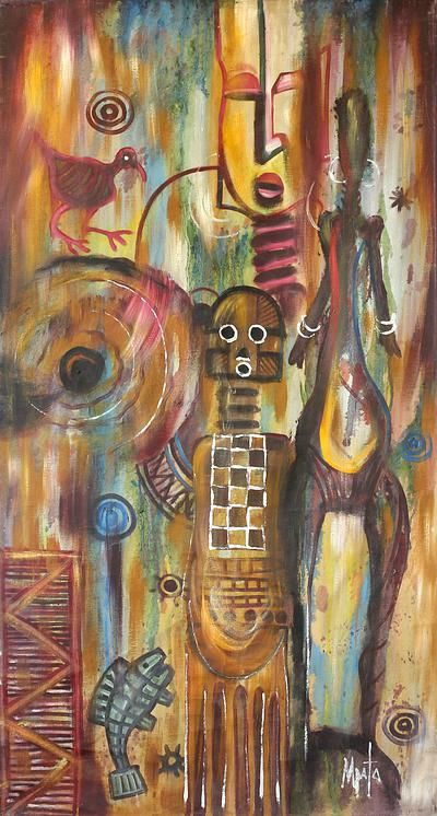 'Ancestral Chorus,' African Symbols Original Acrylic on Canvas #Painting