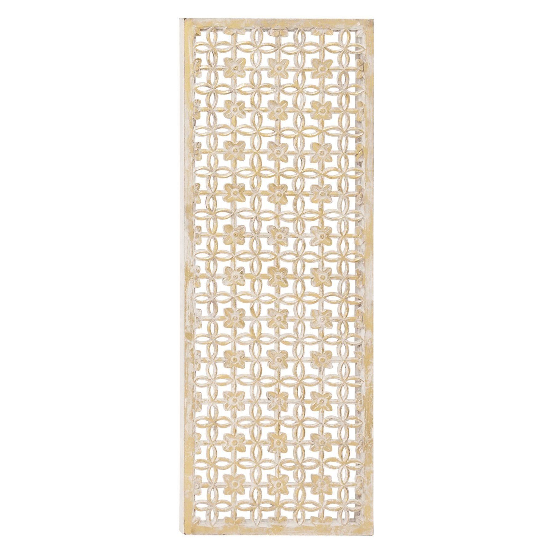 DecMode 18W x 48H in. Framed Floral Carved Wood Lattice Wall Panel ...