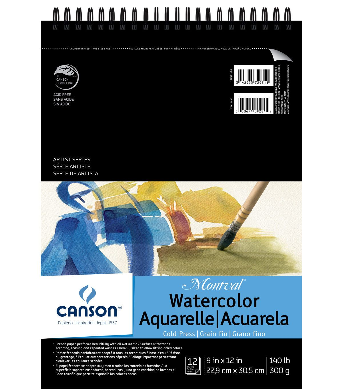 Canson Montval 9 X12 Watercolor Double Wire Binded Paper Pad In