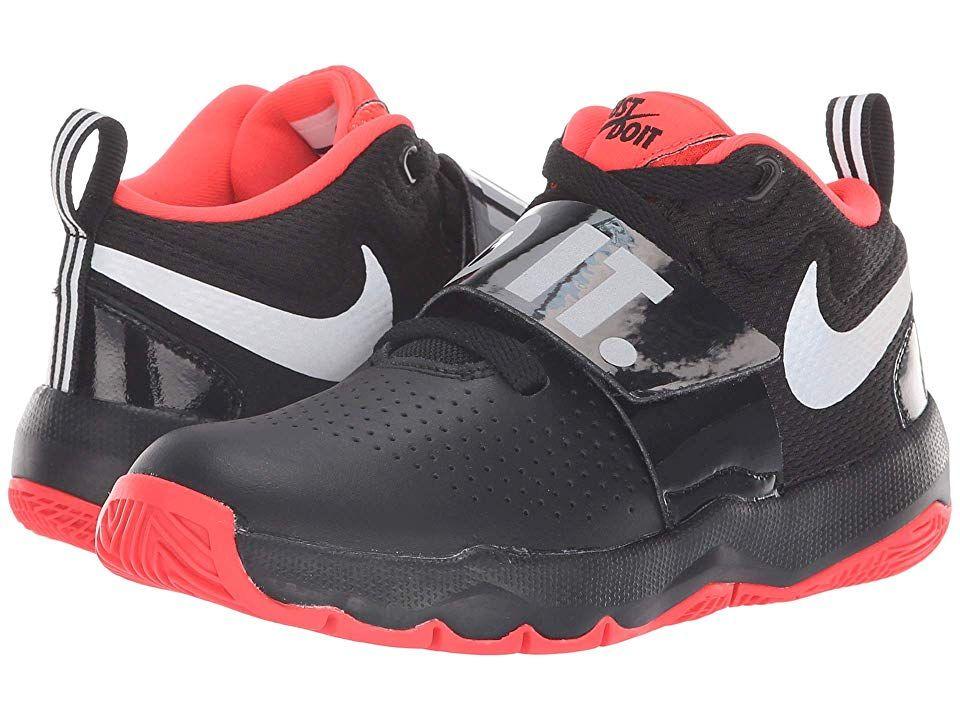 370afb695a28 Nike Kids Team Hustle D8 Just Do It (Little Kid) Boys Shoes Black Reflect  Silver Bright Crimson