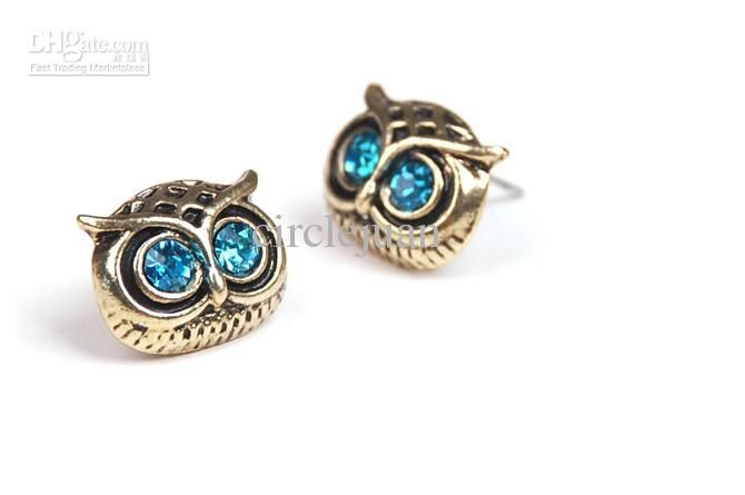 Rhinestone Stud Earrings Owl Jewelry