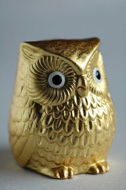 Japanese Gold Leaf Owl Figurine Pinned By Www Myowlbarn
