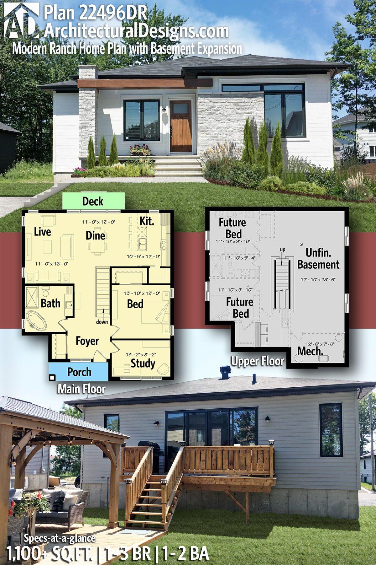 Plan 22496dr Modern Ranch Home Plan With Basement Expansion Ranch House Plans Modern House Plans Modern Ranch