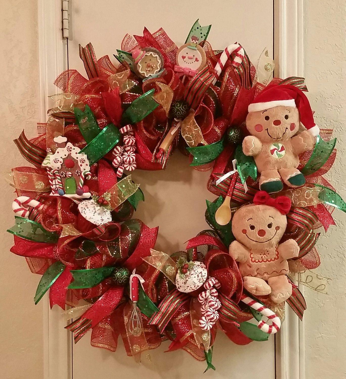 Gingerbread Man Wreath Christmas Wreath Front Door Christmas