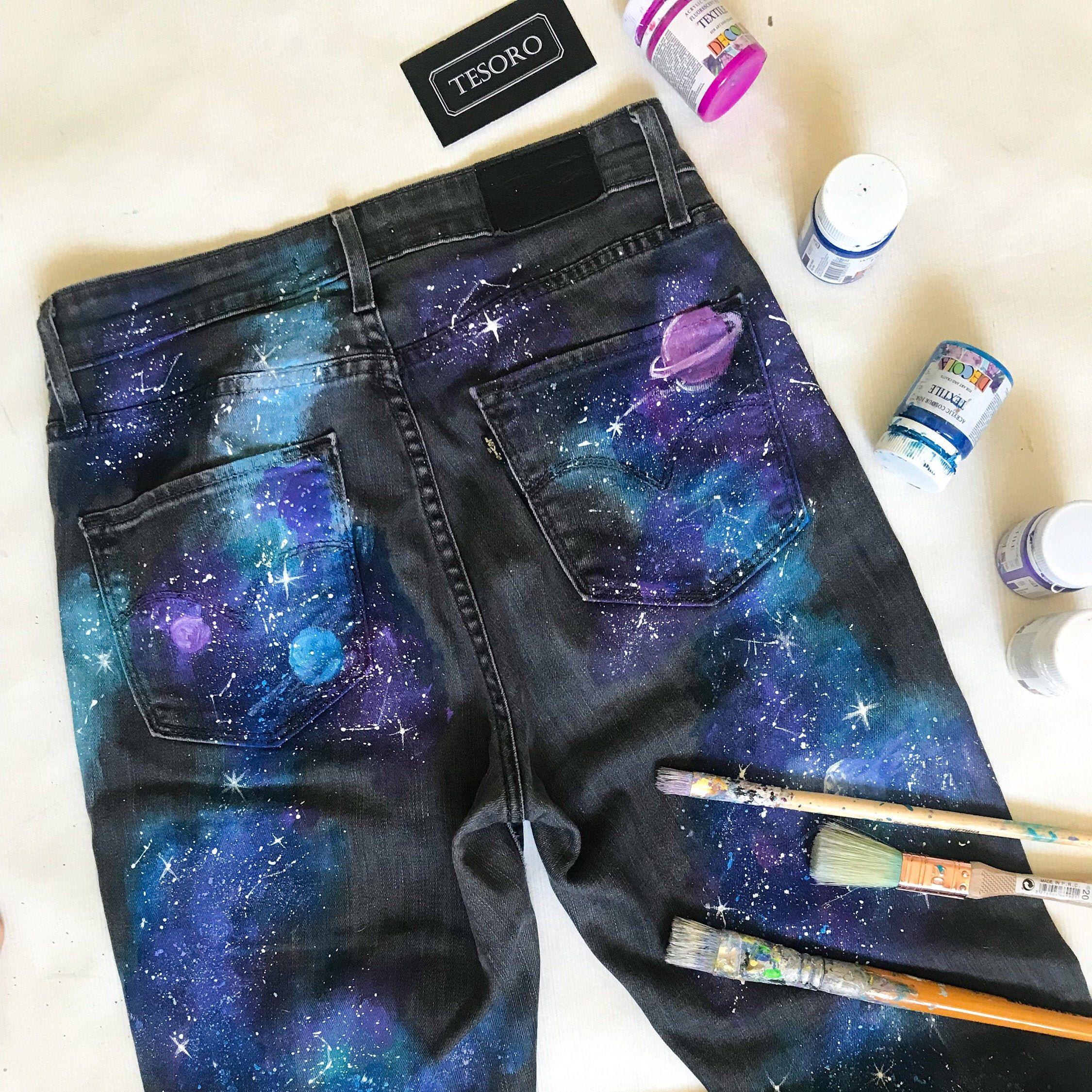 Hand painted jeans/Painted jeans/Hand painted designs/Star space gifts/Galaxy clothes/Custom denim