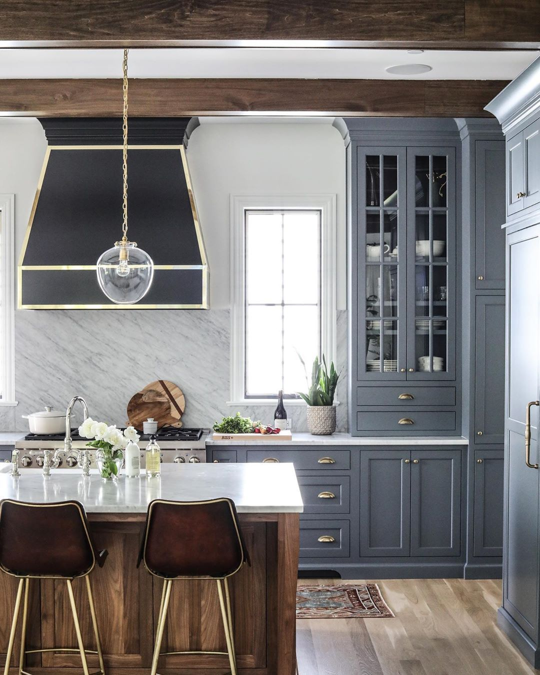 Park Oak On Instagram Loving This Blue Gray Cabinet Color At Our Poclaussennewbuild Grey Blue Kitchen Gray Cabinet Color Blue Gray Kitchen Cabinets