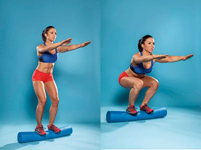 Get strong and sculpted by doing squats on a foam roller