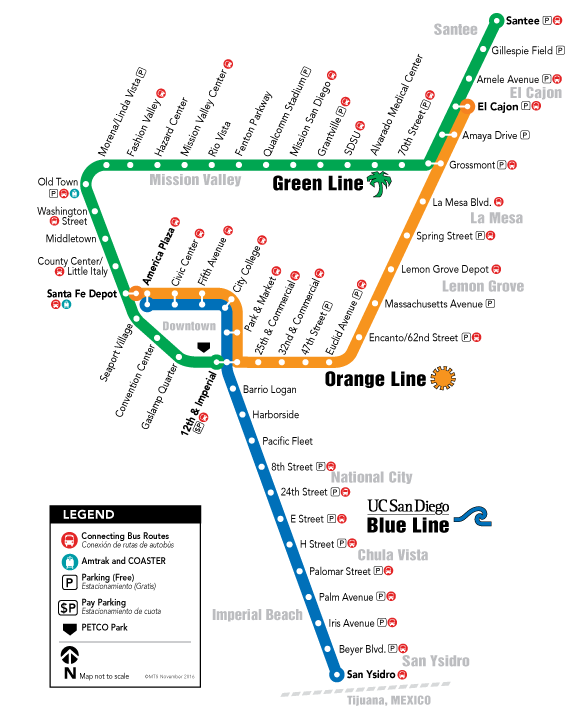 Trolley System Map San Diego Trip