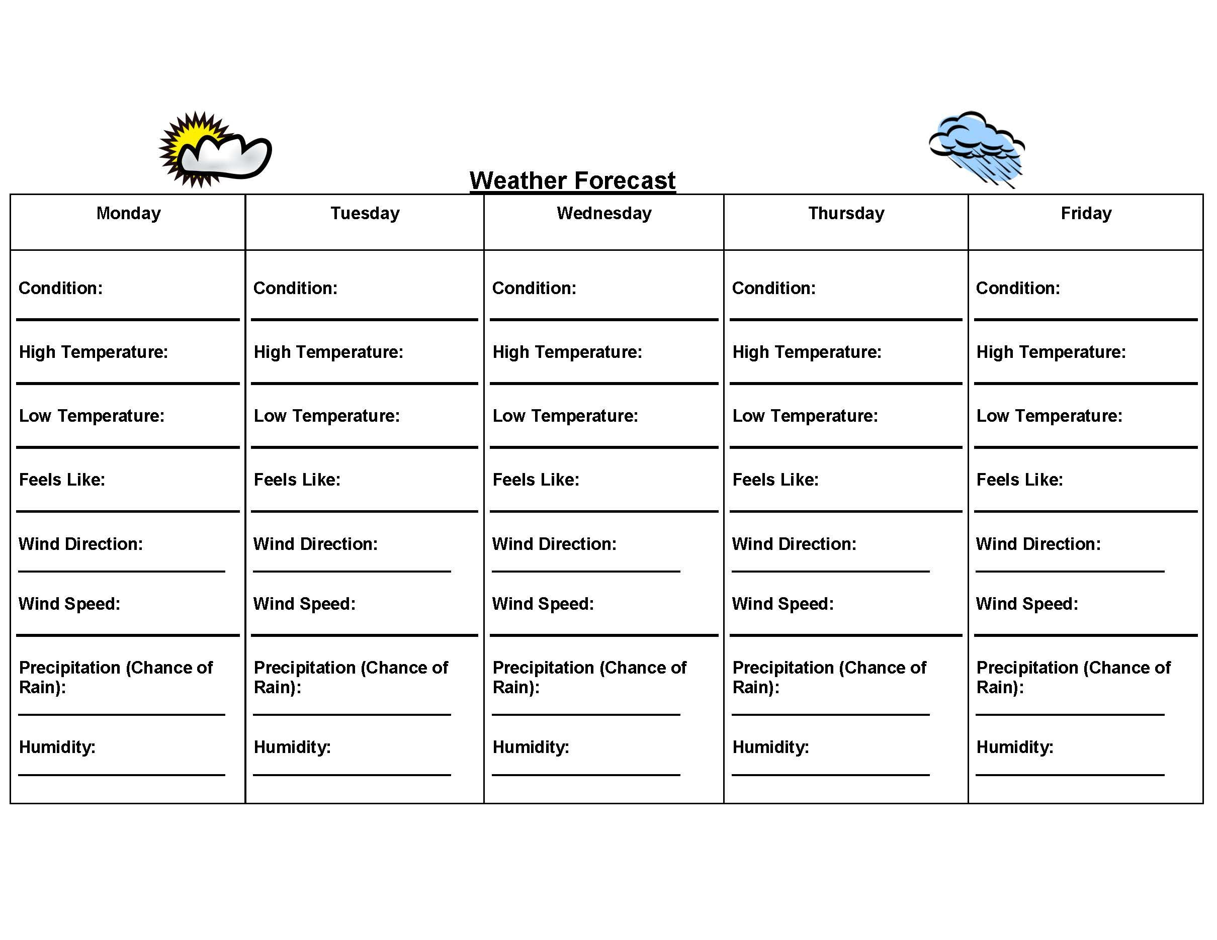 This Worksheet Allows Students To Track The Forecast Each