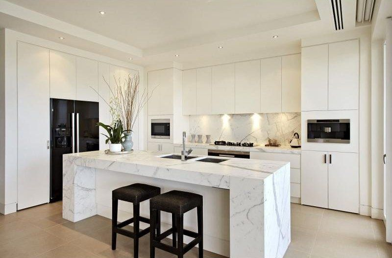 Superbe White Marble Kitchen With Black Accents Including Black Fridge
