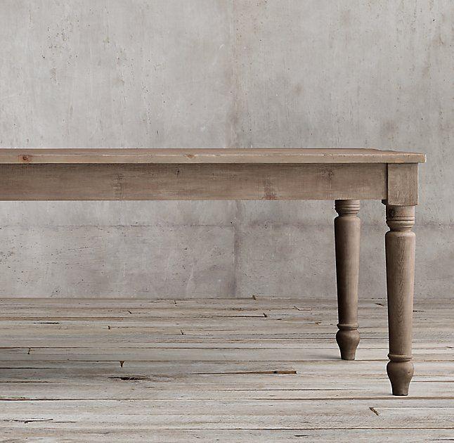 19th C English Farmhouse Rectangular Dining Table Restoration Hardware
