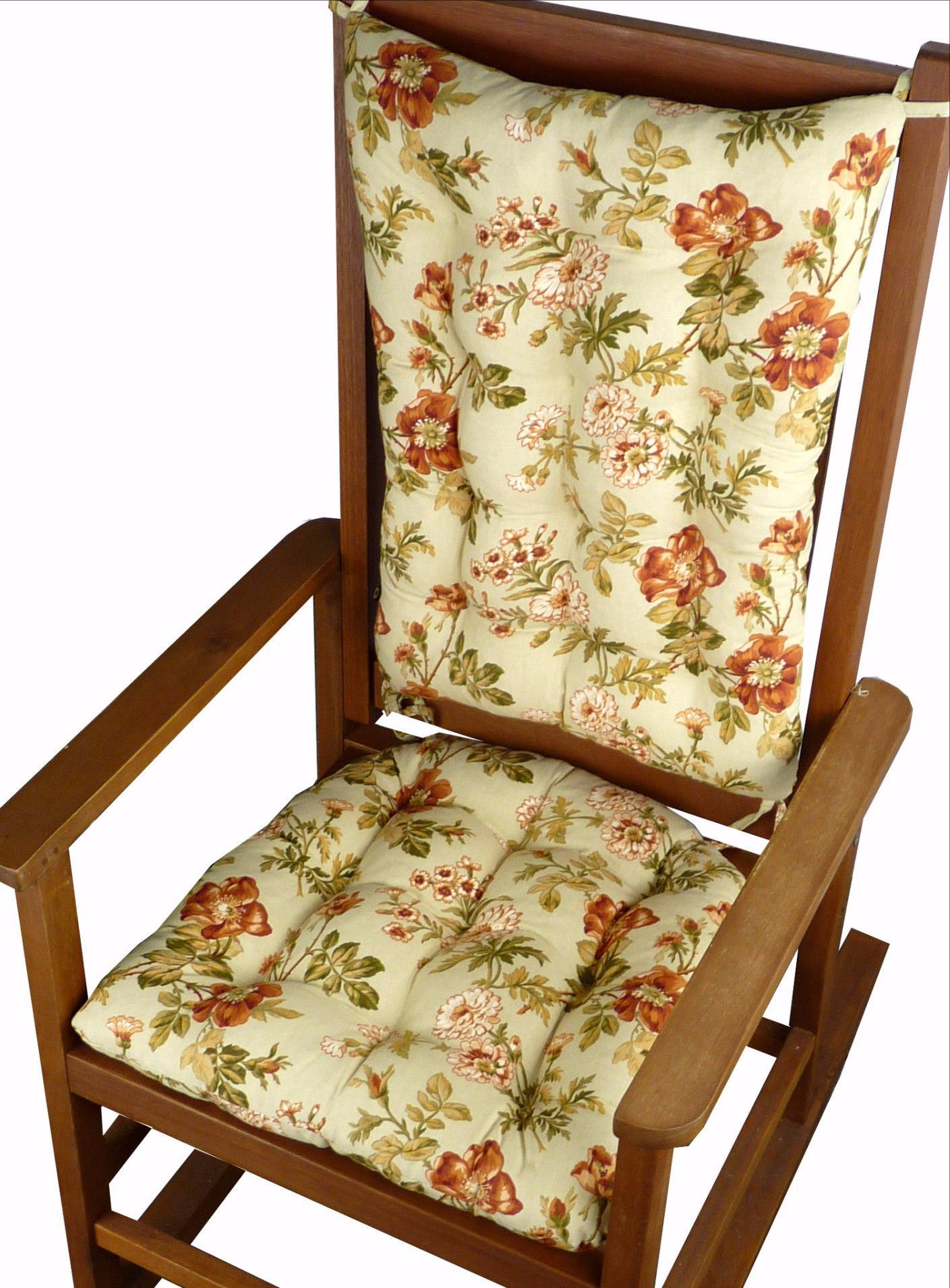 Rocking Chair Cushions   Farrell Sage Prairie Rose Floral Print   Latex  Foam Fill   Reversible
