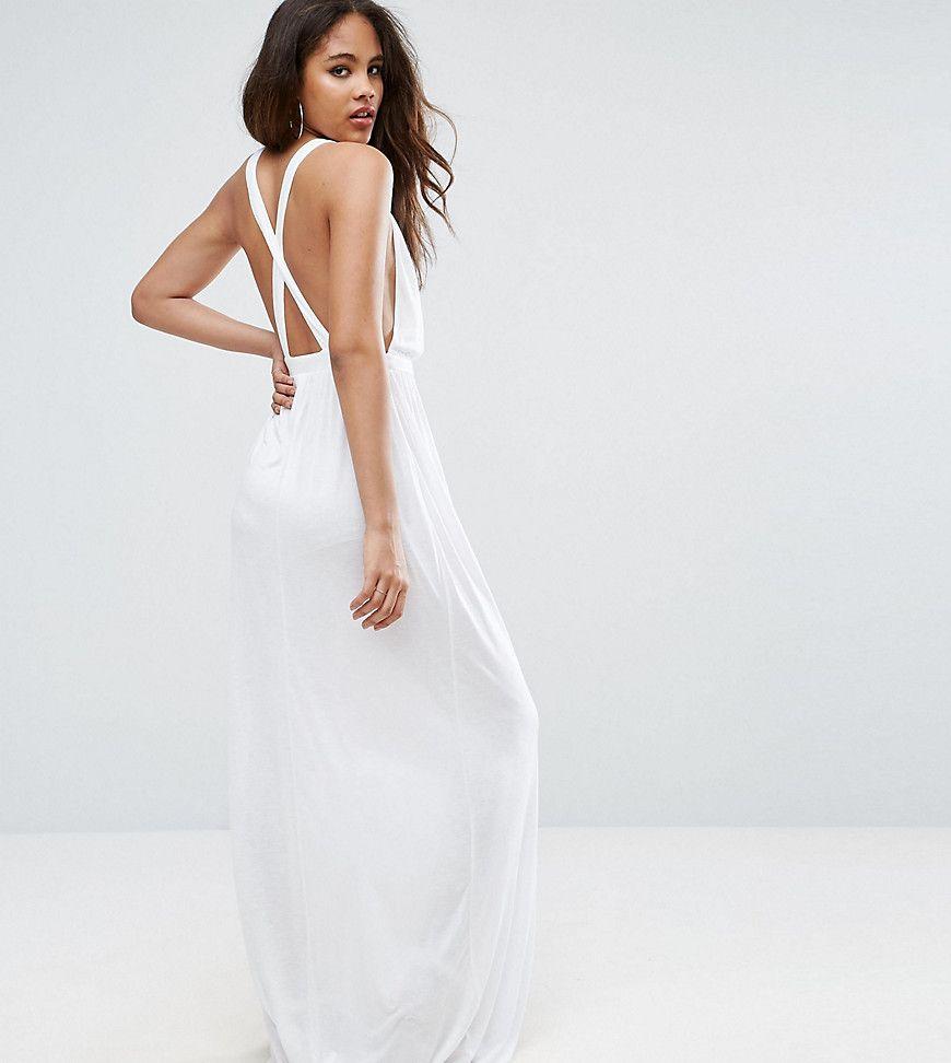 Asos Tall Cross Back Jersey Maxi Beach Dress White Beach Maxi Dress White Jersey Dress Womens Dresses [ 972 x 870 Pixel ]